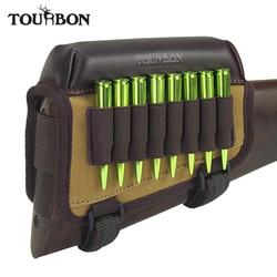 Tourbon caza táctico Rifle nalga reposa almohadilla elevador w/cartuchos de munición soporte de bala portador lona y accesorios de pistola de cuero