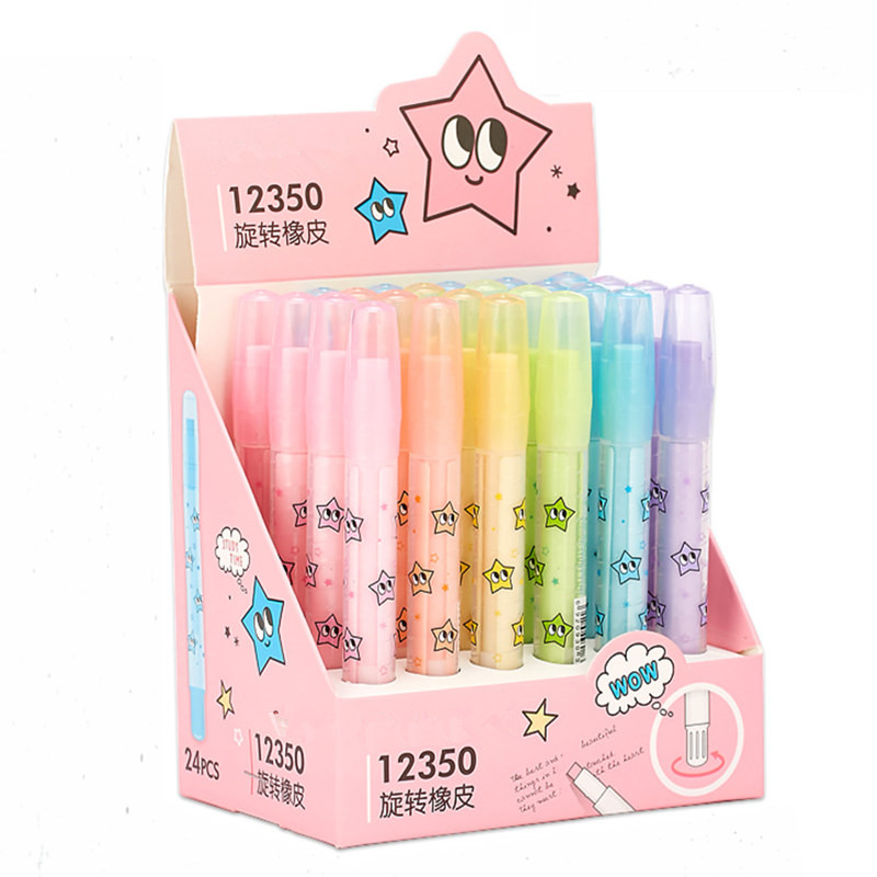 Cute Kawaii Star Rotating Pencil Erasers Pen Shaped Eraser Candy Color School Rubbers For Kids Korean Stationery Student Gift