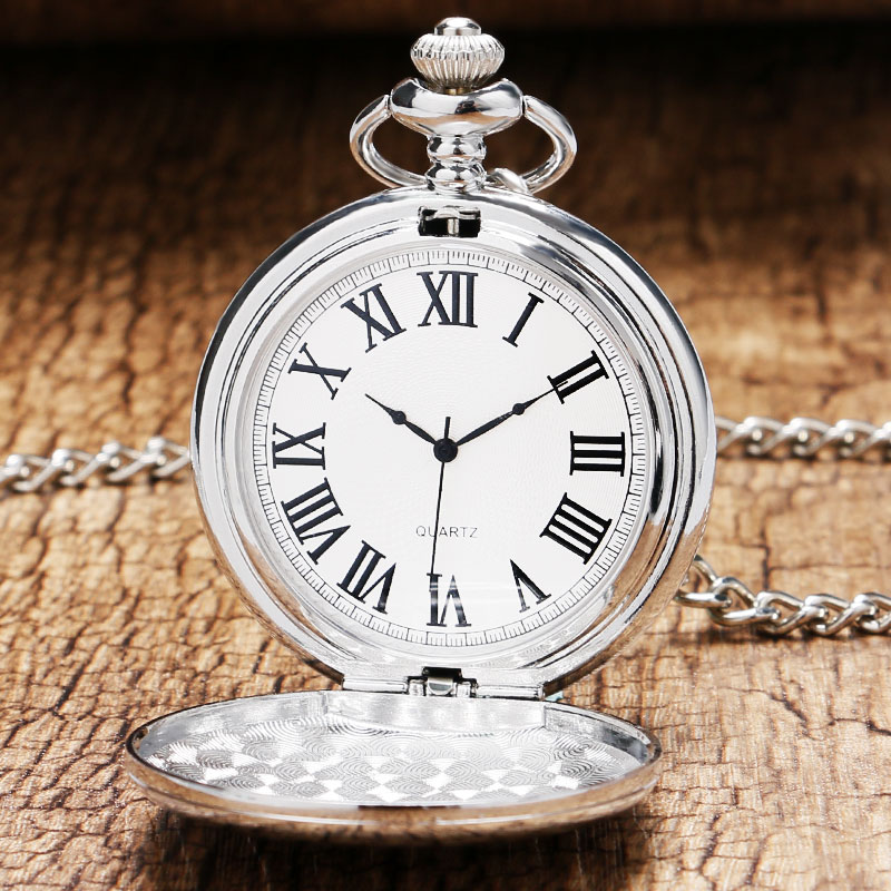 Full Hunter Silver Pocket Watch Smooth Face Pendant Clock Roman Number Display Quartz Pocket Clocks With Chain Unisex Retro Gif