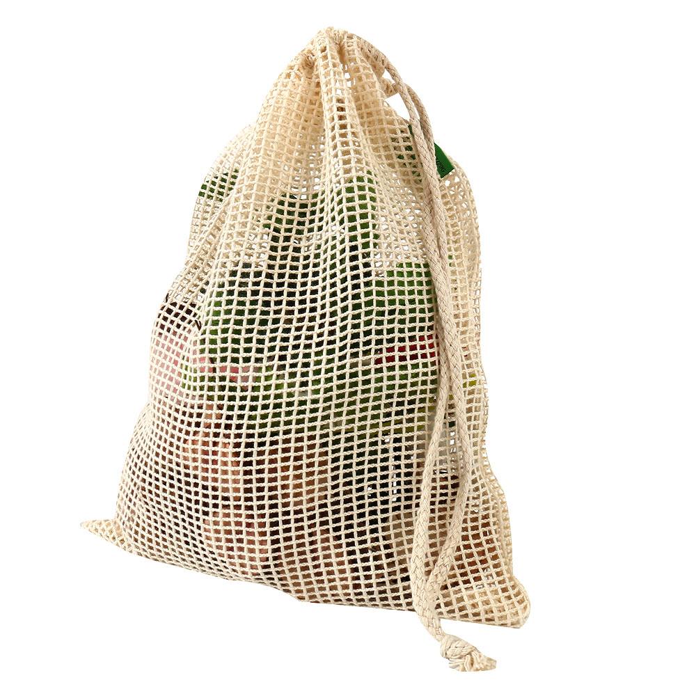 Bolsas de Malla 3 tamaños y de ALGODÓN ecológica sostenible re-utilizable reutilizable de varios tamaños y color beige 27