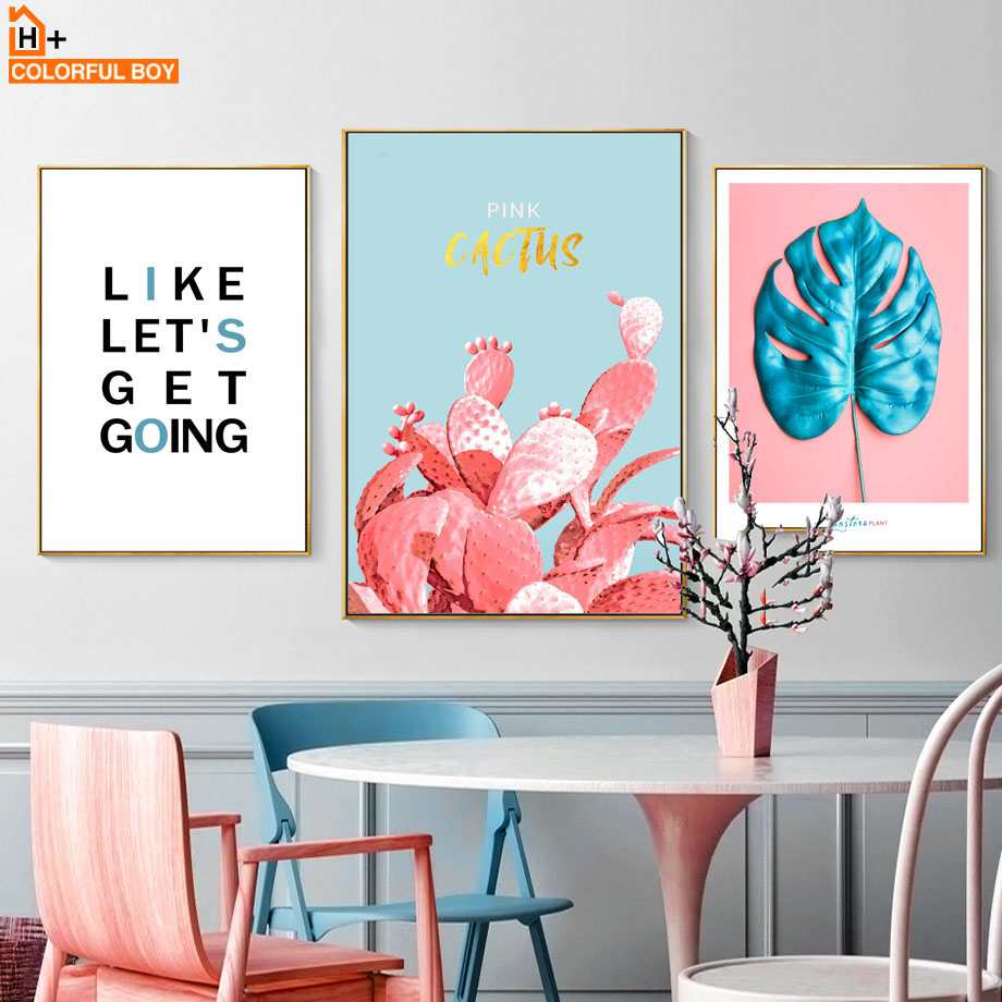 Pink Cactus Aloe Monstera Leaves Window Wall Art Canvas Painting Nordic Posters And Prints Pictures For Living Room Decor