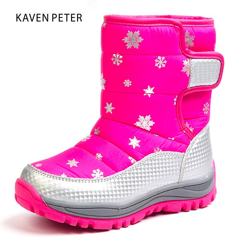 Children snow boots For Girls Boys mid-calf shoes warm plush soft bottom shoes kids waterproof Winter Boots print snowflake snowflake christmas balls sparkling winter print waterproof table cloth