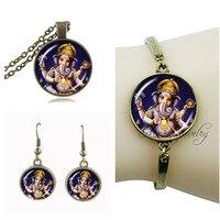 Boeddhisme ganesha hanger lord ganesha ketting en oorbel set indian ganesha sieraden set antieke bronzen ketting choker ketting