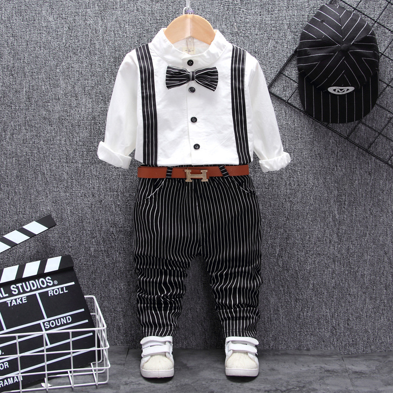 British Style Baby Boy Clothing One Year Birthday Wedding Costume Set For Newborn Baby Boy Tops Pant With Belt Suit Clothes Sets