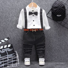 British style baby boy clothing one year birthday wedding costume set for newborn baby boy tops pant with belt suit clothes sets(China)