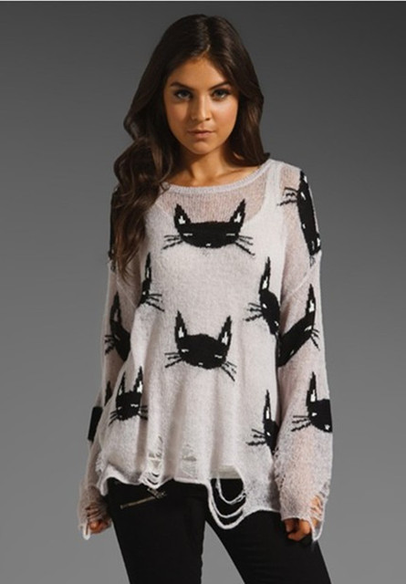 034fff4777 Autumn Ladies Loose Tops Hole sweater fashion wildfox series of Cat head  Cat hole pattern sweater