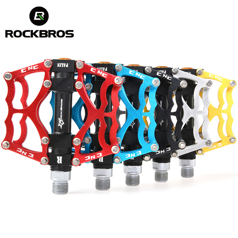 RockBros Mountain Bike Bicycle Pedal MTB Road Bike Ultralight Pedals Aluminum Alloy Axle 9/16 Cycling Seald Bearing BMX Pedal new safurance aluminium alloy mtb mountain road sport bicycle cycling bike short beam alarm lock 3 keys silver 140 alarm
