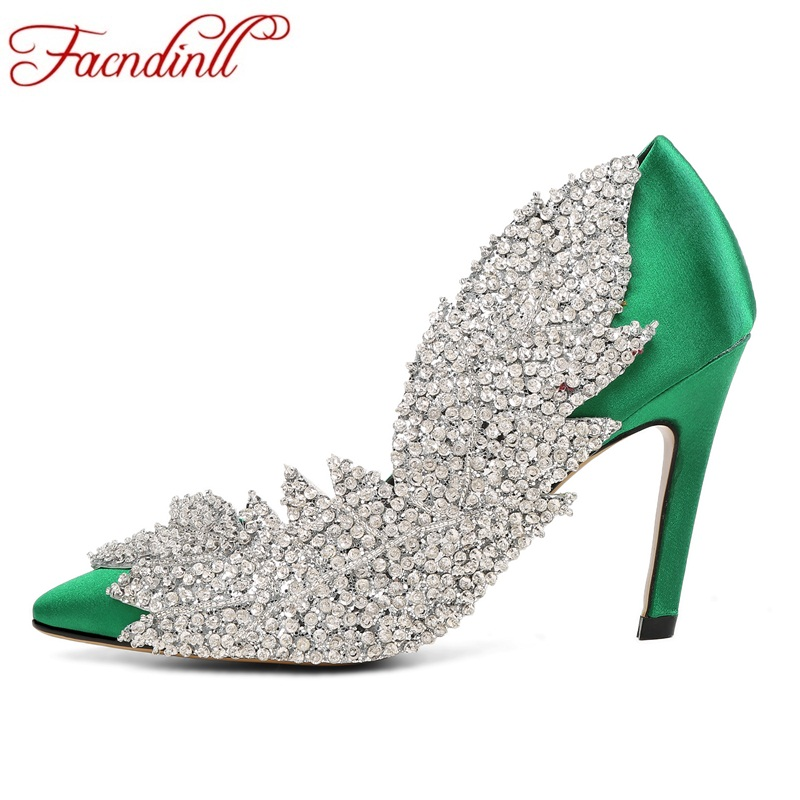 FACNDINLL Luxury design satin party dress shoes sexy high heels shoes women pumps pointed toe woman crystal shoes plus size 43 lady plus size 35 46 sexy mesh patching customized luxury diamond pointed toe genuine leather high heels shoes women pumps party