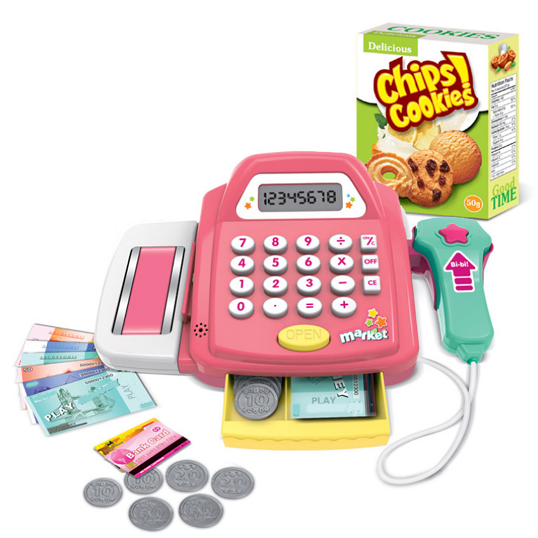 Kids Supermarket Cash Register Electronic Toys with Foods Mo