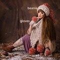 Шапочка и Перчатки и Шарф Прекрасный Девушки Женщин Зима Теплая Вязать Ручной Hat Caps