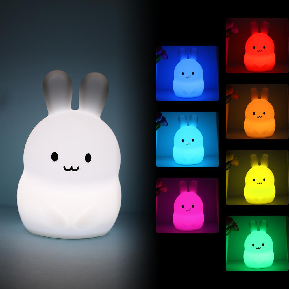 Mini Rabbit RGB LED Night Light Decoration Lighting Cute Cartoon Silicone Bunny Bedroom Bedside Lamp For Children Kids Baby Gift