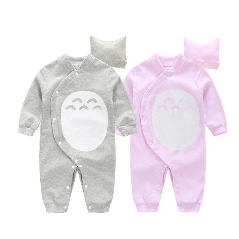 A Roupa Do Bebê Recém-nascido 2 YiErYing Pcs Novo 2018 Estilo Bonito Totoro Chapéu + Macacão de Bebê Dos Desenhos Animados de Algodão de Manga Longa Menino conjuntos de Roupas de menina