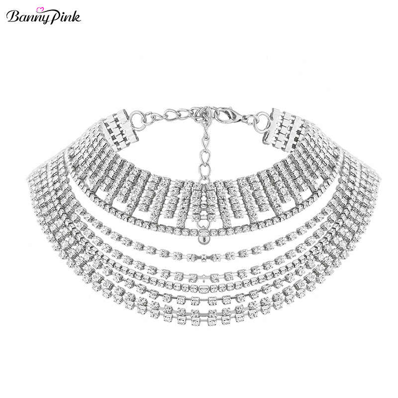 Luxury Rhinestone Chain Choker Necklace For Women Chunky Tassel Crystal Layer Choker Collar Fashion Bridal Jewelry Collier Colar