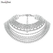 Luxury Rhinestone Chain Choker Necklace For Women Chunky Tassel Crystal Layer Choker Collar Fashion Bridal Jewelry Collier Colar