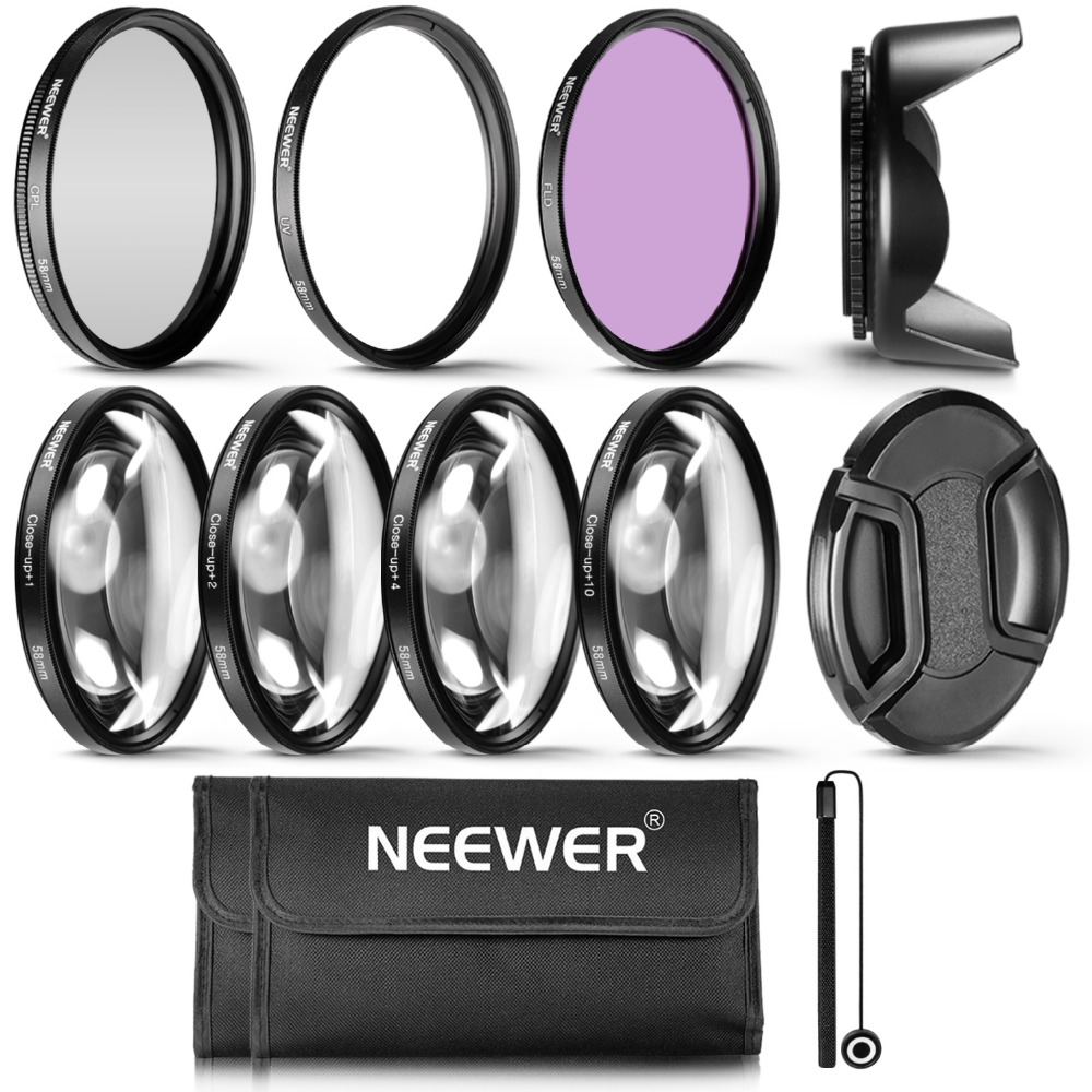 Neewer 58MM Professional UV CPL FLD Lens Filter+Close-up+1 +2 +4+10 Accessory Kit For 58 ...