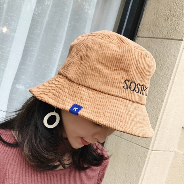 2018 Fashion Spring Autumn Caps Travel Hats Women Velvet Bucket Hats With Letter  print Casual Easy Take Away 036b014992e1