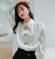 women blouses korean shirts chiffon blouse white blouse women long sleeve shirts silk blouse