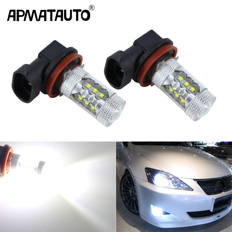2PCS White H8 H11 with XBD Chip 80w <font><b>LED</b></font> Fog <font><b>Light</b></font> Driving Bulbs for <font><b>mazda</b></font> 3 5 <font><b>6</b></font> xc-5 cx-7 axela atenza,12V-24V image