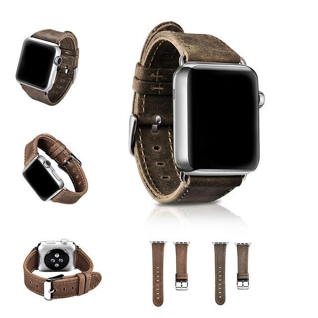 Urvoi band para apple watch série 1 2 couro de cavalo louco cinta para iwatch 2 couro genuíno retro clássico projeto 38mm 42mm