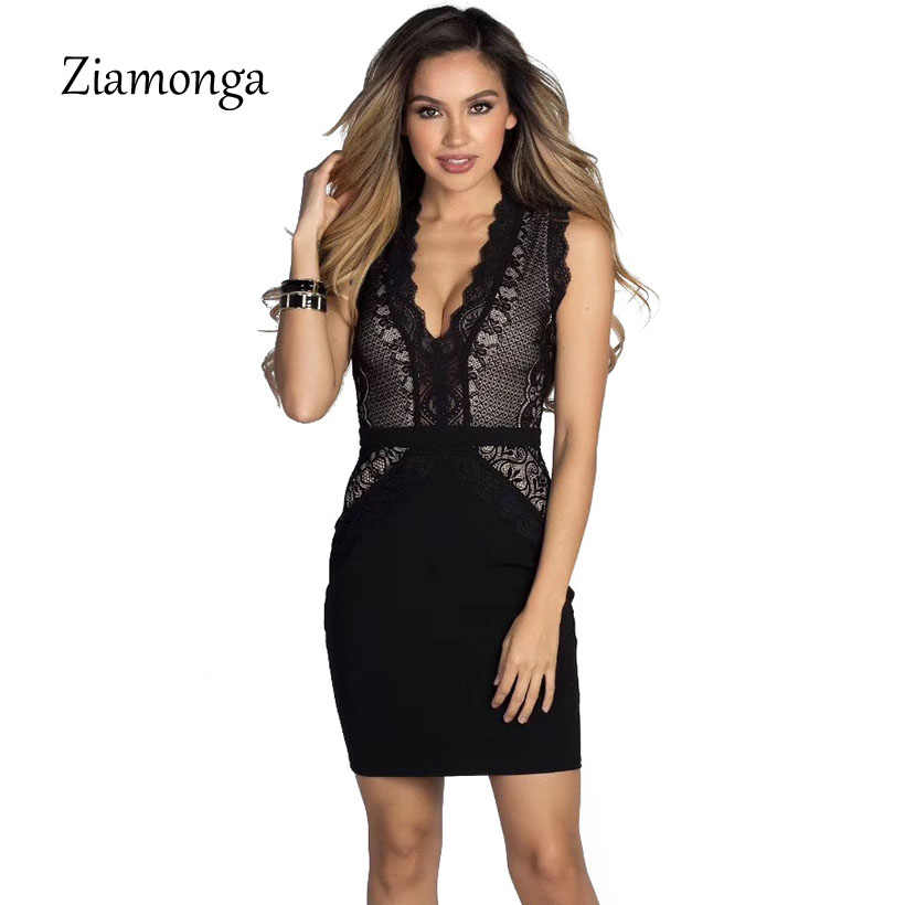 Ziamonga Women Bandage Dress 2018 Sleeveless New Arrival Party Black Sexy  Lace Bodycon Dress Spring Summer 1757f0fac981