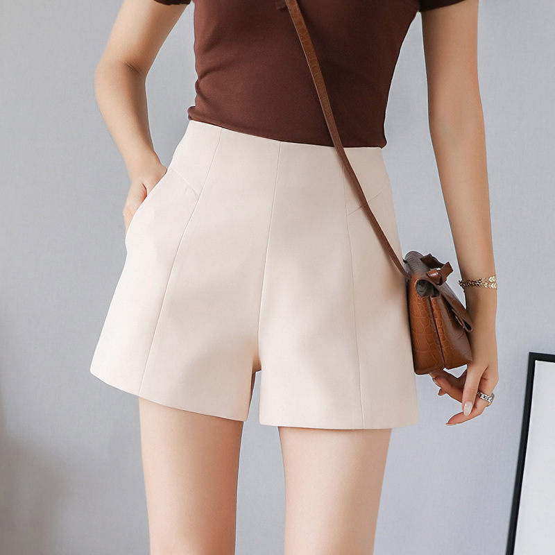 Summer Shorts For Women Chiffon Solid High Waist Wide Leg Short Pants Black Zip Up Pockets Shorts Female Short Trousers DK6058