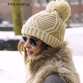 Womens Winter Big Knitted Pompom Hat Solid Color Knit Casual Knitted Skullies & Beanies Wool Acrylic Cable Thick Hats For Women