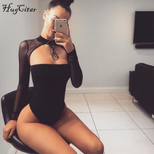Hugcitar long sleeve mesh patchwork cotton bodycon sexy lace up bodysuit women solid high neck with bandage body