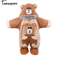 Teenster Baby Girls Boys Clothes Bear Style Hooded Rompers New Born Autumn Winter Romper Cute Thickening Costume 12 24 M