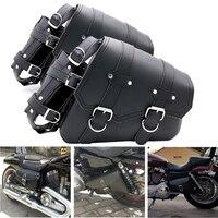 Универсальный подсидельная мотоциклетная сумка кожа седло мотоцикл сумка для инструмента чемодан для Harley Sportster XL883 XL1200 гладить Dyna сумка для...