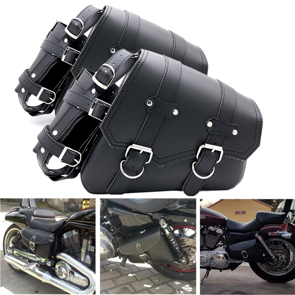 Us 27 52 36 Off Universal Motorcycle Saddlebag Leather Saddle Tool Bag Suitcase For Harley Sportster Xl883 Xl1200 Iron Dyna In