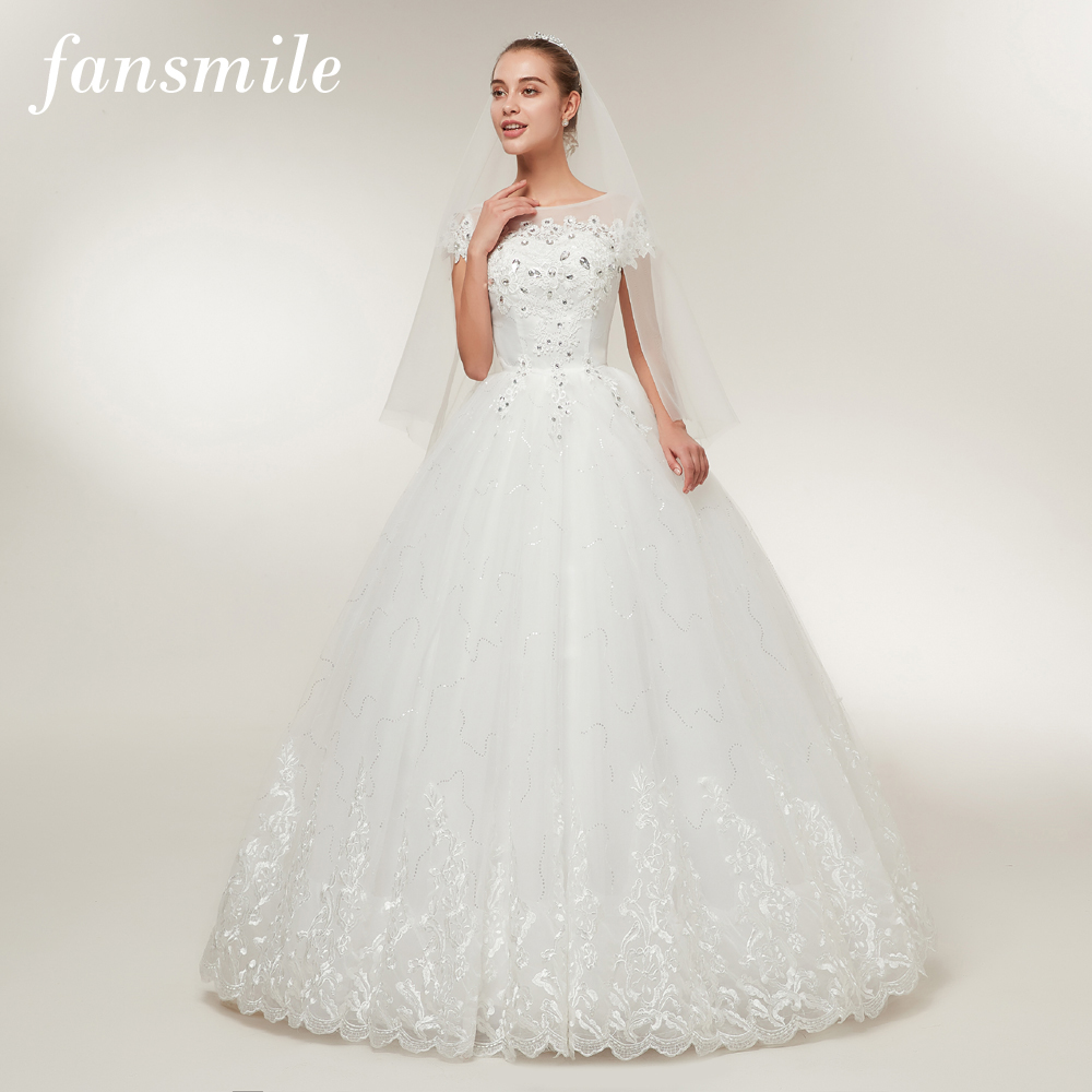 Fansmile Free Shipping Lace Up Short Sleeve Ball Wedding Dresses 2017 Real Photo Plus Size Vintage Ball Wedding Gowns FSM-045F