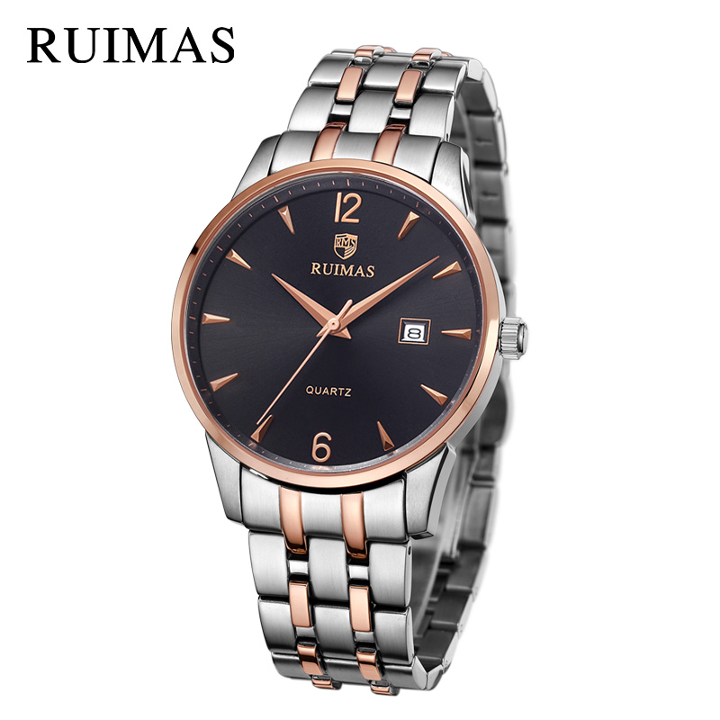 RUIMAS Top Brand Luxury Business Men Watch Fashion Dress Quartz Wrist Watches Relogio Masculino Army Military Watch with Box xinge top brand luxury leather strap military watches male sport clock business 2017 quartz men fashion wrist watches xg1080