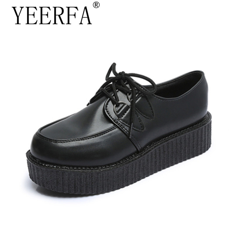 YEERFA Spring autumn Women Flats Shoes 2017 new fashion creepers shoes woman plus size Creepers platform shoes 35-41 eur new 2017 spring summer women shoes pointed toe high quality brand fashion womens flats ladies plus size 41 sweet flock t179