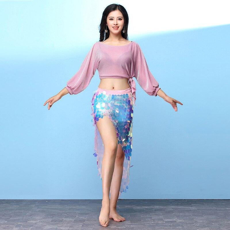 Nouveau style femmes danse porter Spandex vêtements extensibles 5 couleurs danse du ventre Costume ensemble 2 pièces haut et sur-jupe (paillettes hanche écharpe)