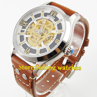 43mm Parnis Sapphire glass Brown strap Gold miyota Automatic Movement Men's Watch