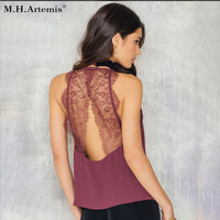 M H Artemis Elegant Lace Backless Camisole Tank Top Hollow Out Casual Sleeveless Camis Halter