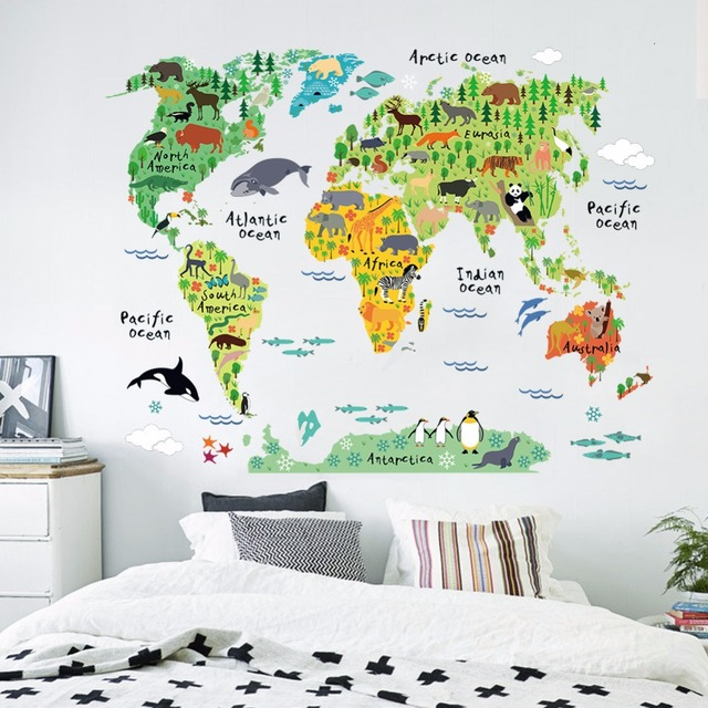 World Map Poster Nature Animal Sticker Home Dec Funny Bedroom For - Kids world map poster