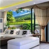 Custom 3d Mural Wallpaper Visual Expand Green Grass Stylish Minimalist Style Bedroom Living Room 3d Photo