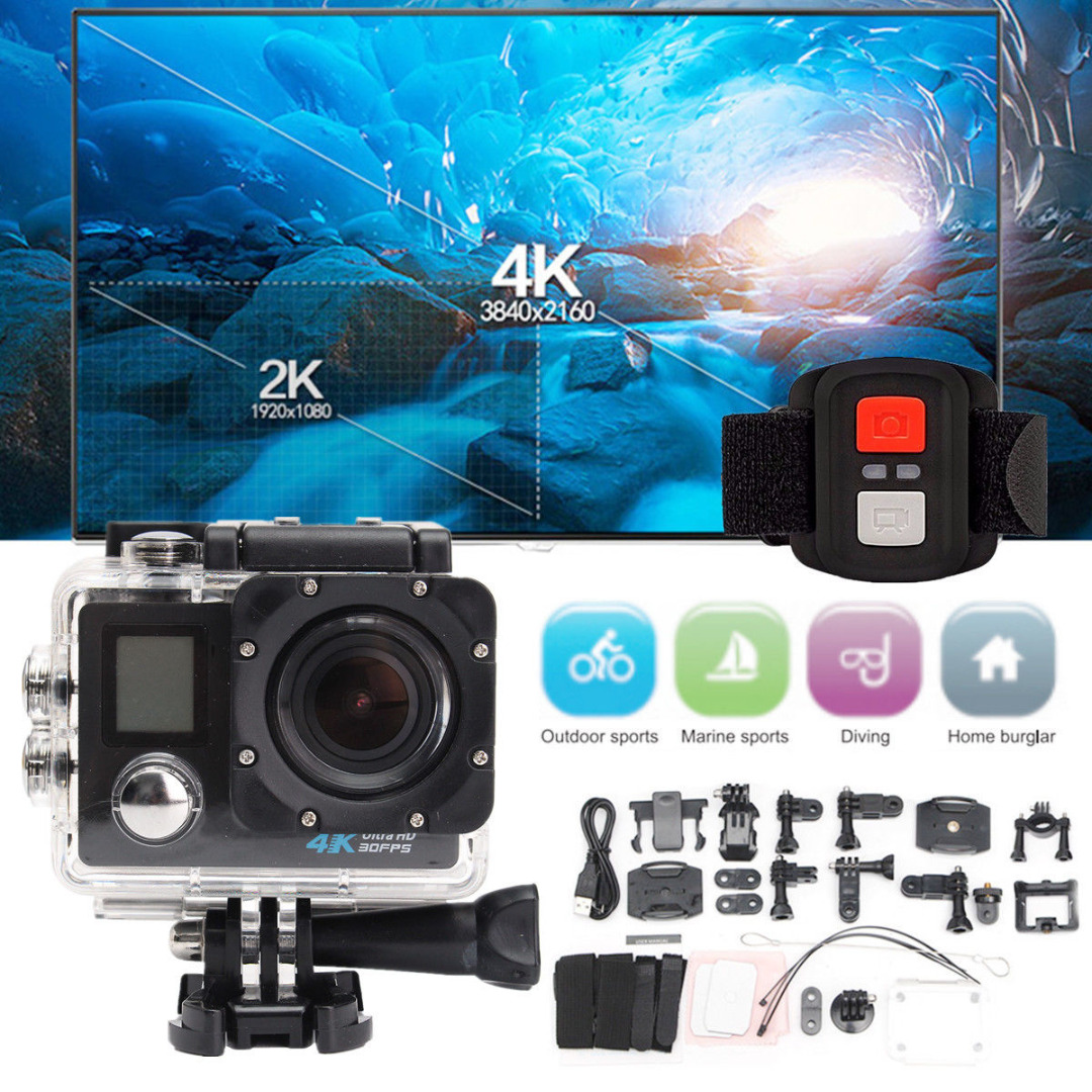 Sport Action Cameras 1 Set 2.0 LCD Dual Screen Camera 170 Degree 4K HD WiFi Sports DV Waterproof Camera H.264 1080P 60fps Mayitr 4k 30fps action camera wifi 1080p uhd 2 0 lcd screen 30m waterproof diving 170 degree sport action camera dv camera