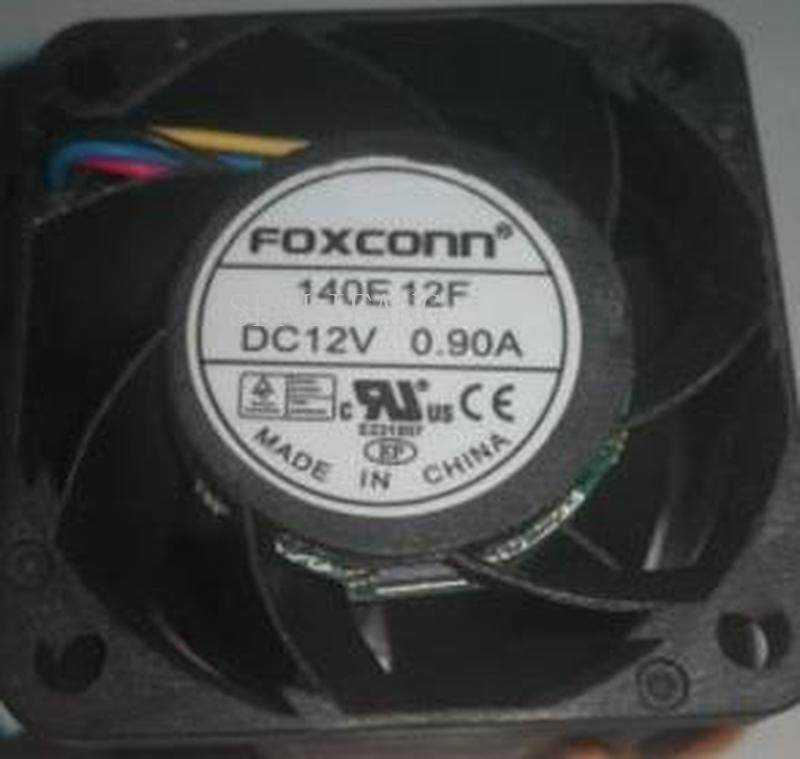 For Foxconn 140E 12F 40*28mm DC 12V 0.9A 4 Wires 4 Pins Dual Balls Bearing 4cm Violence Server Fan
