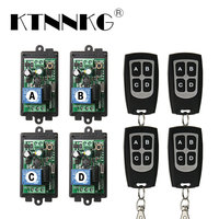 KTNNKG 4PCS 1CH Remote Relay Receiver AC 85V 110V 220V Universal Wireless Remote Switch Module for RF 433 Mhz Remote Controls