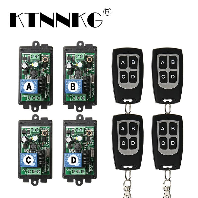 KTNNKG 4PCS 1CH Remote Relay Receiver AC 85V 110V 220V Universal Wireless Remote Switch Module for RF 433 Mhz Remote Controls