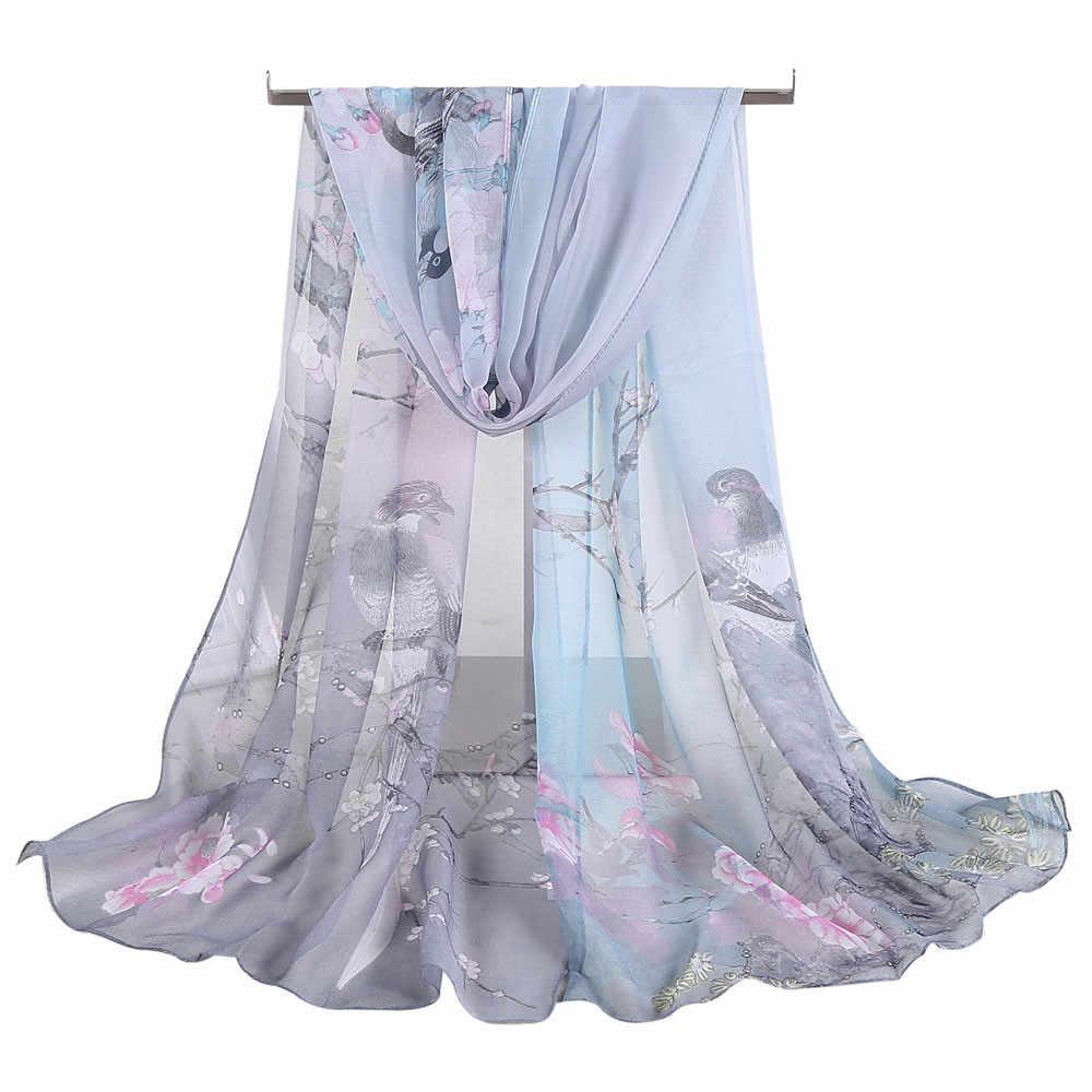 #40 mujeres chal gasa bufanda primavera suave Sjaal fino lujo pájaro impreso Bufandas señoras abrigo chal Bufandas chifón Hijab