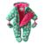Nueva 2016 Otoño/Invierno Mamelucos Del algodón Del Bebé, niña, niño flor verde del mono recién nacidos engrosamiento ropa térmica de manga larga