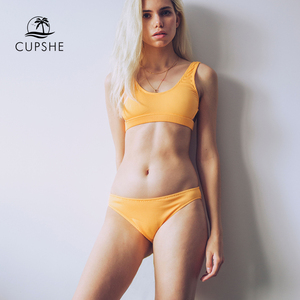 Image 2 - Cupshe Yellow Feather Yarn Solid Bikini Set Plain Hollow out Padded Two Pieces Swimwear 2020 Women Sexy Thong Swimsuits