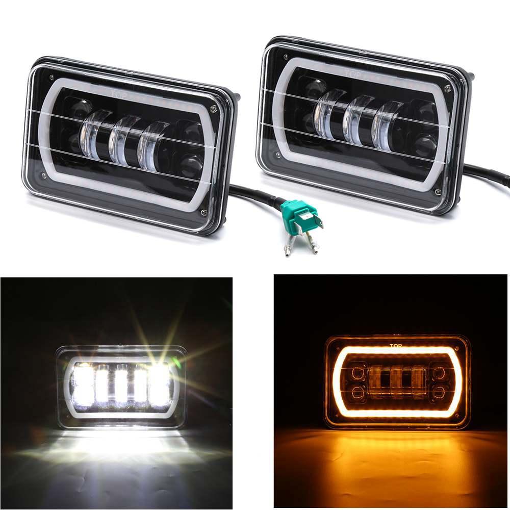 1 Pair 4X6 LED Light Headlight Bulb Hi-Lo Beam H4 Lamp Turn Signal Light DRL Headlamp Day Running Light for buick gmc Wrangler 9012 hir2 led headlight bulbs 50w 8000lm fanless auto headlamp conversion kit for toyota chevrolet cadillac buick gmc ford jeep