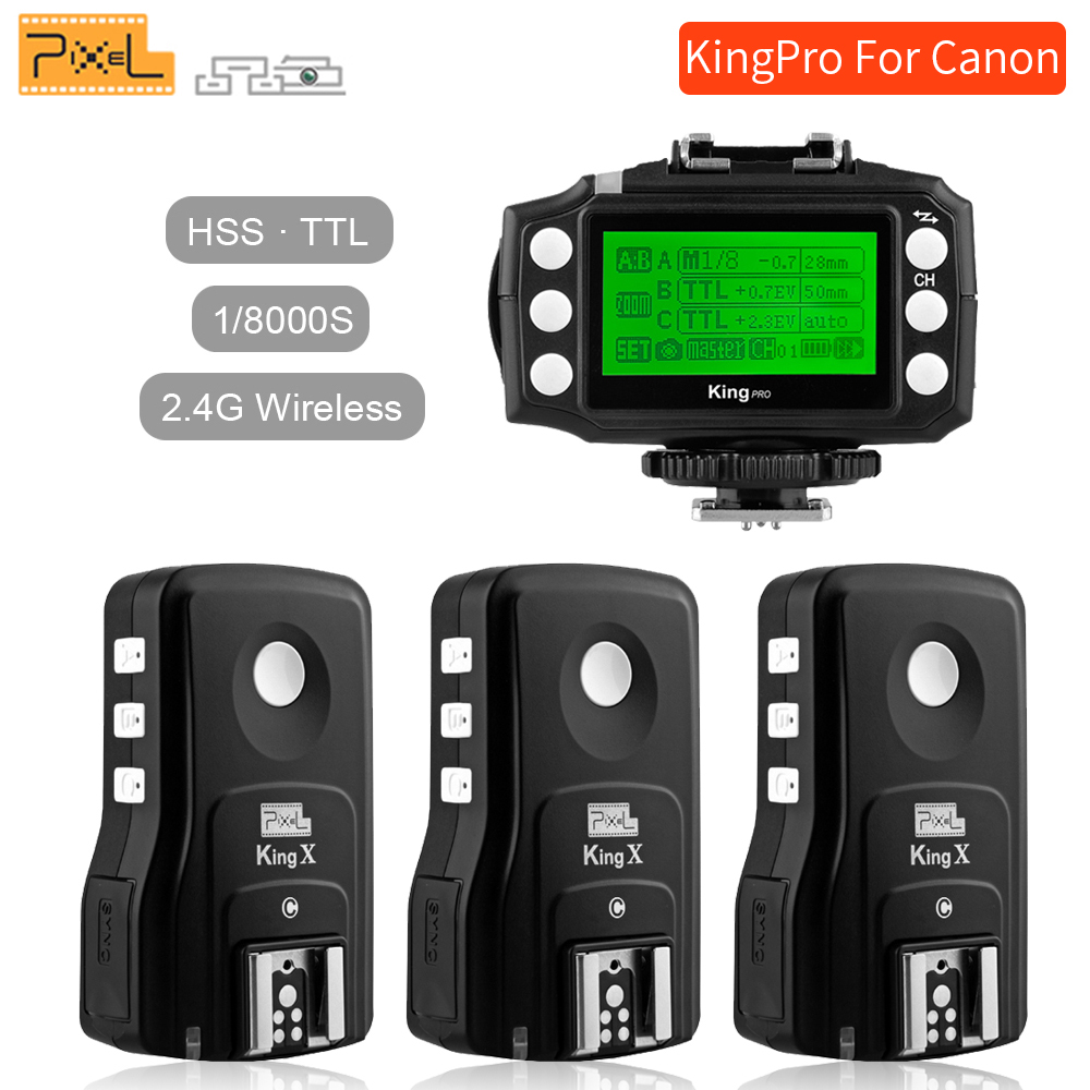 Pixel King Pro Wireless 2.4G TTL 1/8000S HSS Flash Trigger Set For Canon 1100D 5D3 DSLR Camera 3x Transceivers +1x Transmitter