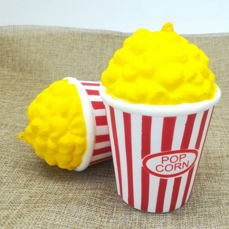 Cute Popcorn Squishy Jumbo Soft Slow Rising Squeeze Phone Straps Bag Key Pendant Charm Cream Scented Kid Toy Fun Gift P15