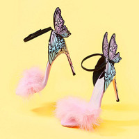 Colorful Butterfly Wings Bridal Wedding Shoes Ankle Buckle Strap High Heels Shoes Pink Feather Stiletto Heels Women Sandals