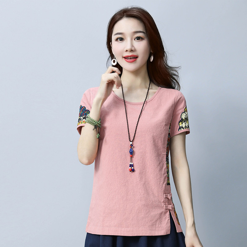 Cotton and Linen Women's 2018 Summer Shirt Loose Short Sleeve Chinese Style Patchwork O Neck Shirt Printed M-3XL 2